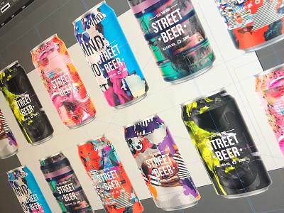 STREET BEER | The Collection logo branding beer branding collage grunge type usa packagedesign pattern beercan beer