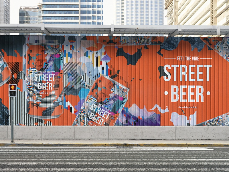 FEEL THE VIBE | STREET BEER | Advertising idenity logomark beer branding logo packagingdesign packaging usa mural street grunge collage beers beer label beercan beer