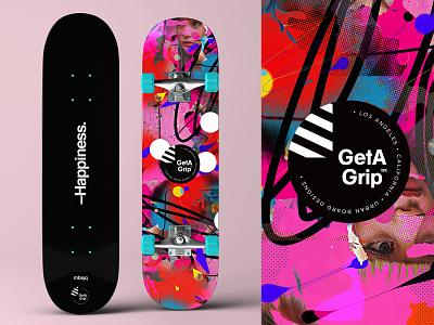 GetA Grip | Happiness Deck poster photoshop collage branding logo deck skater skateboard