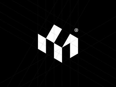 M® grid house abstract home building technology mark branding logotype symbol brand identity logo