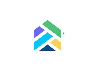 House shape home finance technology minimal mark branding logotype symbol brand identity logo