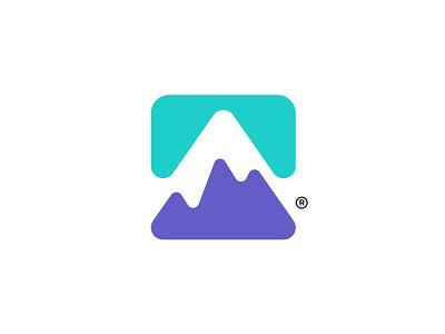 Mountain mountain tecnology logo design branding icon digital marketing finance logotype symbol brand identity logo