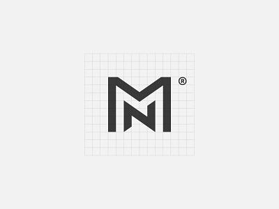 MN grid monogram letter icon geometry branding minimal brand symbol mark logo