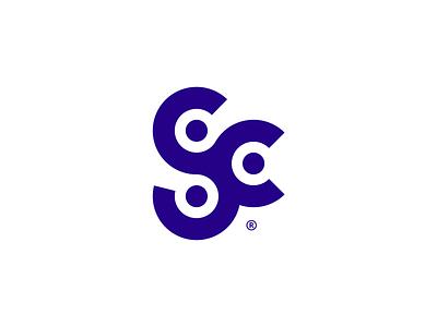 SC® grid type dj music mark branding logotype symbol brand identity logo