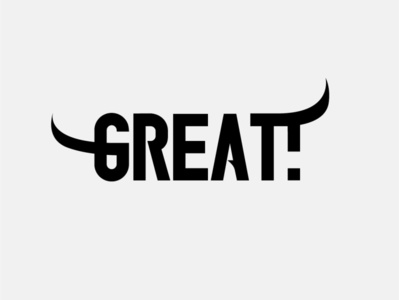 Great! bulls bull horns animal lettering typography vector flat minimal logo design branding