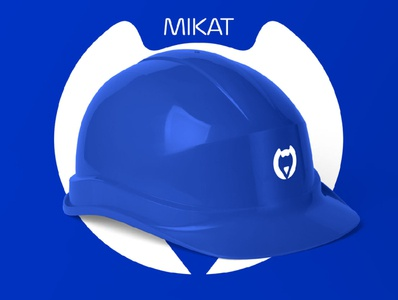 MIKAT illustration helmet neon blue construction company helm constructor construction animal kat cat artwork minimal logo design branding