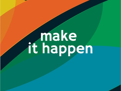 Make it happen inspired inspire happen make it happen lettering typography vector flat minimal logo design branding