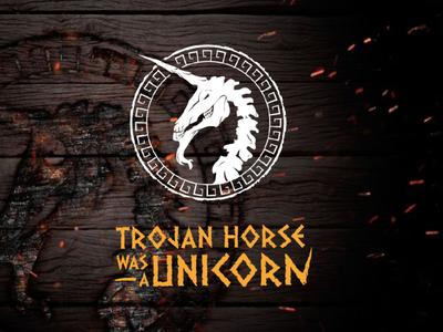 Trojan Horse digital event mythological greece horror magical dead horse icon artwork lettering typography logo design branding tropical digita levent unicorn horse trojan