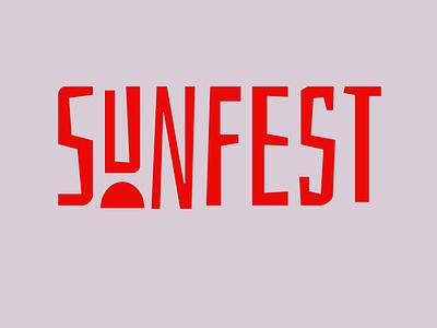 SUNFEST logo lettering vector flat design branding font design redesign font typo typography logo typography red sunfest