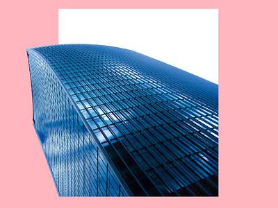 UK PINK minimal artwork design buildings montage graphic design pink building uk
