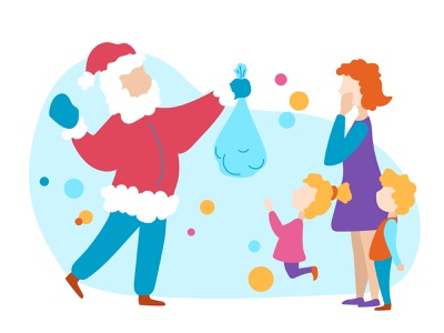 Santa Claus is coming! character new year scene people flat illustration vector stay home christmas santa claus