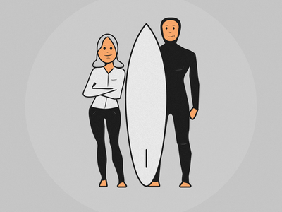 Surfer & Woman Illustration