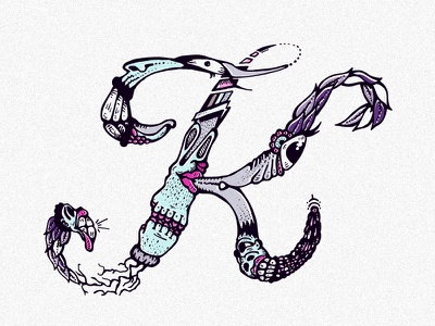 Sketch Letter K alphabet k letter illustration