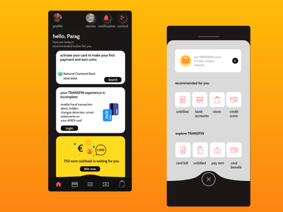 Credit Card App - Transfin mobile home page homepage cashless payment credit card home uxpin design daily ui challenge credit card