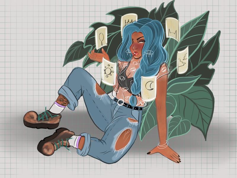 Casual witchin' digital art colorful illustration procreate
