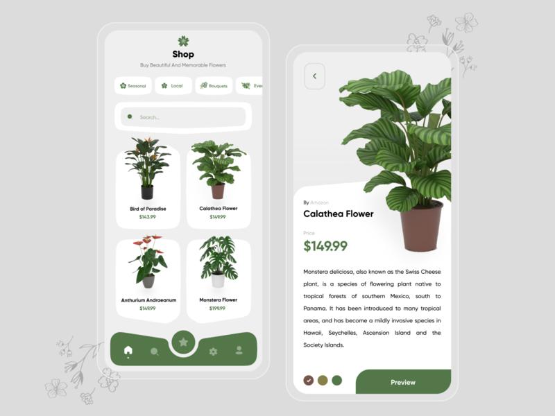 Flower App Ui Design mobile design shoppping app shop shopping flower shop flower illustration flowers flower ui design app