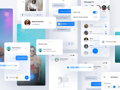 SWEY Project | Component And Page 🥳 creative card dashboard menu checkbox money photography camera voice social chat android ios kit component 3d design mobile ui app