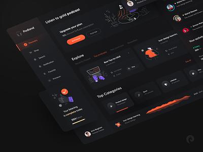 Podcast Dashboard design 🎧 dashboard design dashboad 3d music player player concept dark minimal illustration design app mobile web design podcasting music app music podcast website web ui