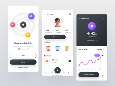 Social app design | Light ✌️😃 twitter instagram banner instagram post portfolio follower light dark homepage intro signup login linkedin instagram app activity chart social network social media icon social