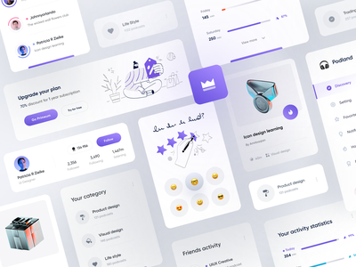 Podcast Dashboard Component design | Light playlist light emoji kit status design system chart music podcast 3d illustraion menu icons minimal dashboard profile mobile category activity component