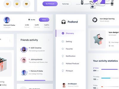 Podcast Dashboard Component design | Part 2 component activity category mobile profile dashboard minimal icons menu illustraion 3d podcast music chart design system status kit emoji light playlist
