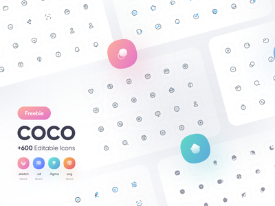 Freebie  - COCO icon pack +600 Editable icons iconsets uidesign flat minimal vector icon packs illustrator ui icon design logo design branding icons icon set iconsset iconset home icon design icons pack essential