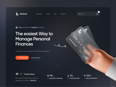 Wallet24 Landing Page | Hero Header 💳 mockup 3d 3d illustration minimal dark mode dark theme dashboard dark app website web clean wallet bank credit blockchain value proposition typography navigation card banking