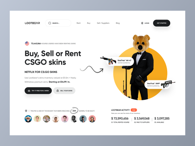 LOOTBEAR Landing Page | Hero header status register login navigation websites website clean dashboard hero header hero landing account csgo skin gamer game minimal 3d illustration 3d mockup