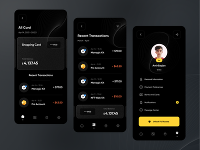 Finance - Mobile bank application 💳 glass effect transaction walletapp glass wallet mobile app mobile ui banking finance financial app financial bank app bank ui design app design ui card design dark ui profile card
