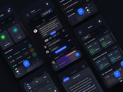 Crypto Tracking application with AI - Part 1 messanger message chat money trade clean ui application tokens crypto wallet ai trading app trend dark fiance stocks forex crypto bitcoin