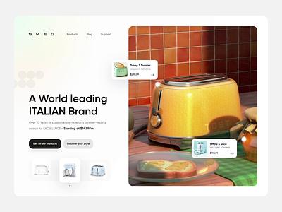 SMEG Hero Header - Animation smeg food kitchen toast website web animate light landing header hero header hero minimal design app mobile 3d animation ui