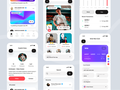 Capital Votes application - Real Project clean application chat profile instagram crypto wallet bank chart contest minimal mobile app project ui