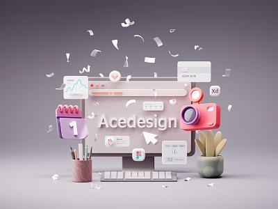 Acedesign 3d Illustration - Head Cover art design branding web icon illustration cinema4d uidesign 3dart 3dmodeling 3dcharacter 3ddesign chracter c4d redshift render scene 3d ui