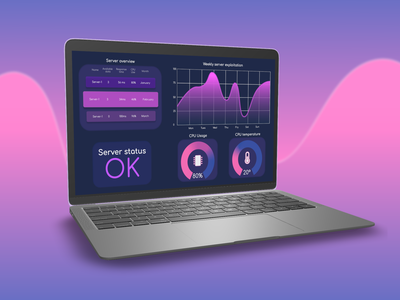 Monitoring screen - Purple neon dark theme pink purple interface monitoring dashboard monitoring ui dataviz data graphic application design admin panel admin design admin