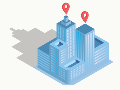 Isometric building illustration vector colors web design blue ui location map building isometric design illustration isometric
