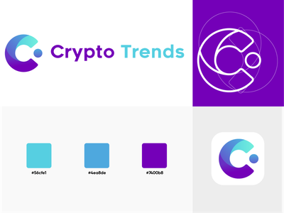 Crypto trends app icon interface ui colors golden ratio vector branding web illustration design purple bitcoin logo cryptocurrency crypto