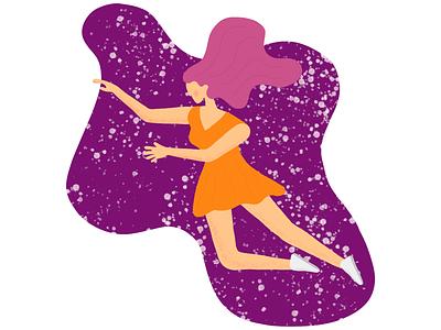 Girl illustration via procreate #1 flat minimal mobile vector interface web colors illustration ui design