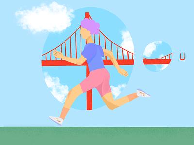 San fransisco runner - Procreate illustration #2 draw ipad procreate golden gate san francisco california running healthy health fitness sport ui design web colors illustration
