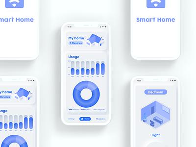 Domotic mobile app mockup neumorphism smarthome smart domotic home mobile ux ui design