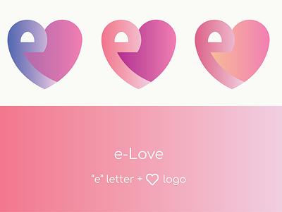 Dating app logo - e-Love colors app icon illustration vector design branding logo design love heart logo