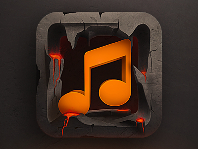 Music app icon music app play texture fun design illustration 3d player itunes lava rock hot sketch making of