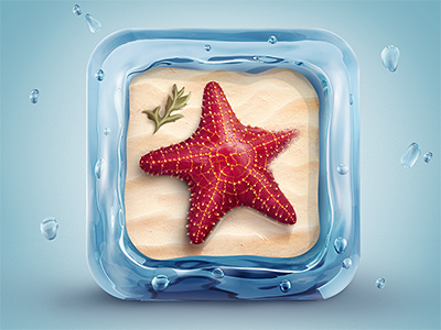 Starfish Icon icon illustration water star sea star starfish ocean sand 3d ios