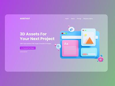 Assethut - 3D Glassmorphism UI Design Concept ui  ux new trend agency website design landing page ui illustration website design product design webdesign minimal glassmorphism ui design landing page