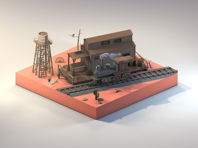 Wild West Train Station railway water tower western train wild west low poly isometric 3dmodeling renders diorama 3dillustration 3d lowpolyart lowpoly illustration cinema4d