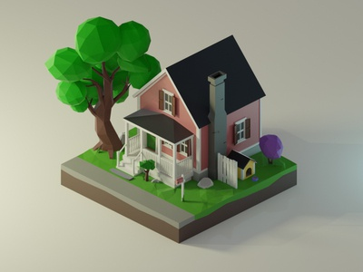 Low Poly House lowpoly3d tree usa house render low poly isometric 3dmodeling diorama renders 3dillustration 3d lowpolyart lowpoly illustration