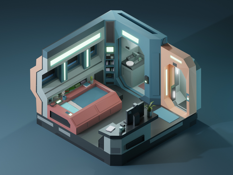 Futuristic Apartment scifi future b3d blender3d room apartment render low poly isometric 3dmodeling renders 3dillustration 3d lowpolyart lowpoly illustration