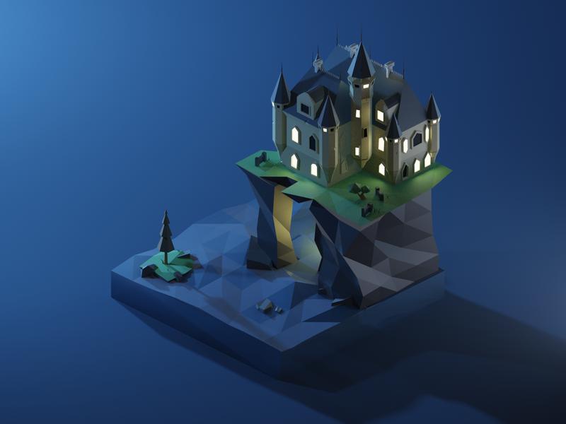 Castle At Night b3d blender3d render low poly isometric diorama 3dmodeling renders 3dillustration 3d lowpolyart lowpoly illustration