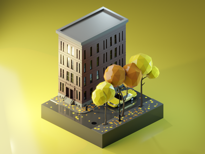 Autumn City Street autumn building newyork ny taxi city street render low poly isometric diorama 3dmodeling renders 3dillustration 3d lowpolyart lowpoly illustration