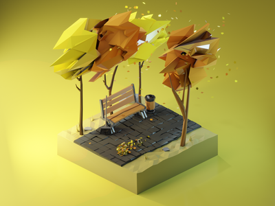 Autumn Park Alley leaves bench b3d blender3d autumn render low poly isometric diorama 3dmodeling renders 3dillustration 3d lowpolyart lowpoly illustration