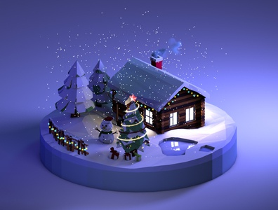 Christmas house Low Poly (Night version)
